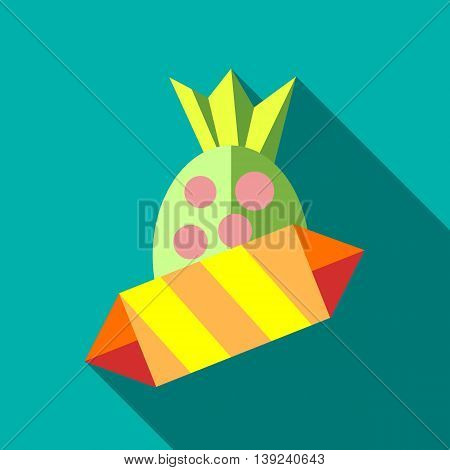Candy icon in flat style with long shadow. Sweets symbol