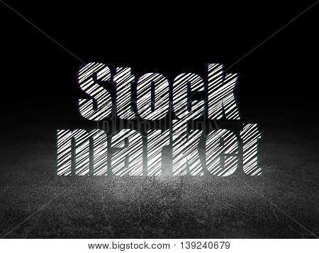 Business concept: Glowing text Stock Market in grunge dark room with Dirty Floor, black background
