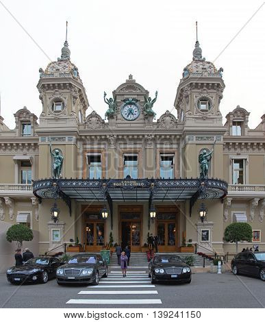 MONTE CARLO MONACO - JANUARY 19: Famous Casino Building in Monte Carlo on JANUARY 19 2012. Entrance to Historic Casino in Monte Carlo Monaco.