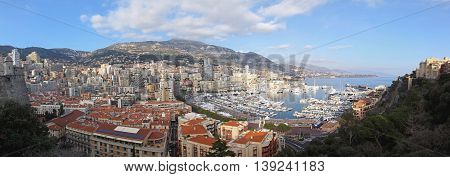 LA CONDAMINE MONACO - JANUARY 18: Hercules Port Panorama in Monaco on JANUARY 18 2012. Cityscape of Hercules Harbour in La Condamine Monaco.
