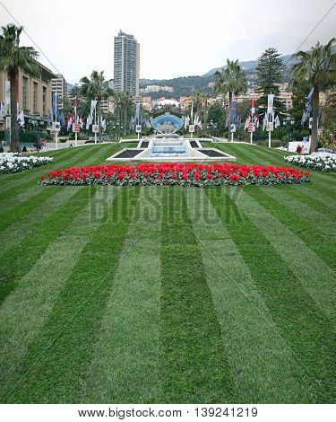 MONTE CARLO MONACO - JANUARY 19: Park With Monument in Monte Carlo on JANUARY 19 2012. Park With Monument at Casino Square in Monte Carlo Monaco.