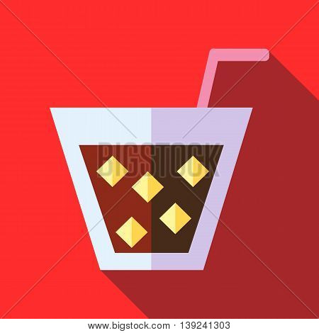 Cocktail with ice icon in flat style with long shadow. Drinks symbol