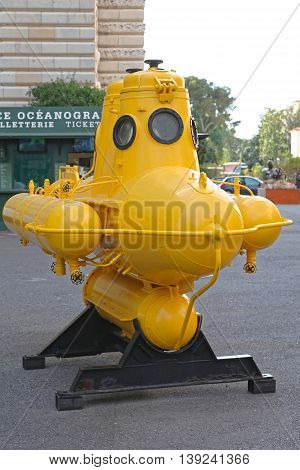MONACO CITY MONACO - JANUARY 18: Yellow Submarine in Monaco on JANUARY 18 2012. Anorep Watercraft of Explorer Jacques Cousteau at Oceanographic Museum in Monaco City Monaco.