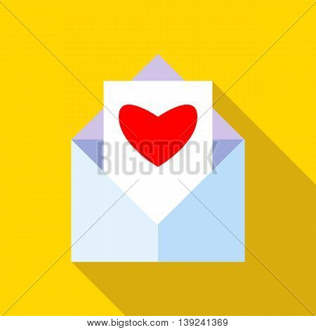 Love letter icon in flat style with long shadow. Message symbol
