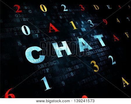 Web development concept: Pixelated blue text Chat on Digital wall background with Hexadecimal Code