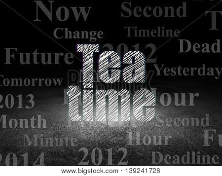 Time concept: Glowing text Tea Time in grunge dark room with Dirty Floor, black background with  Tag Cloud