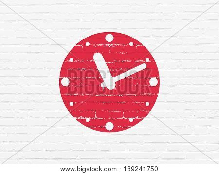 Timeline concept: Painted red Clock icon on White Brick wall background