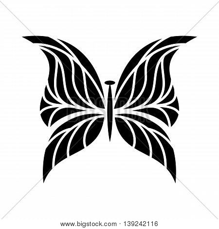 Butterfly with scalloped wings icon in simple style isolated on white background. Insect symbol