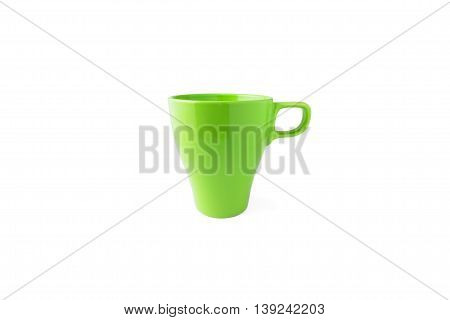 single green cup isolated on white background drink tea coffee colorful break