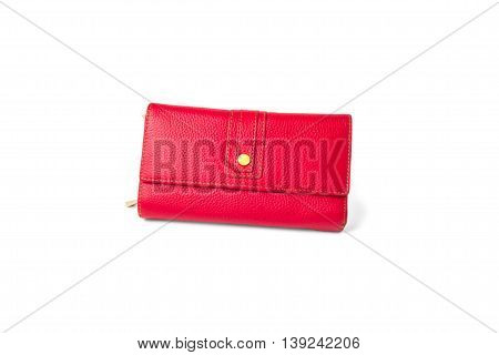 red purse wallet women isolated on white background money fashion