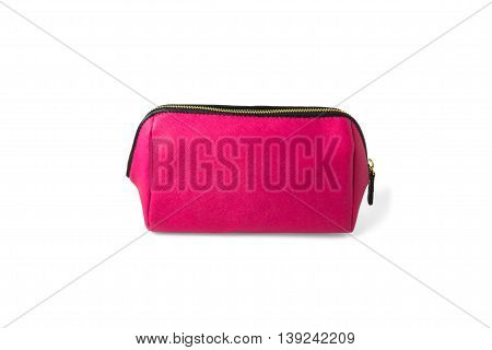 pink make-up bag isolated on white background beauty cosmetics women fashion