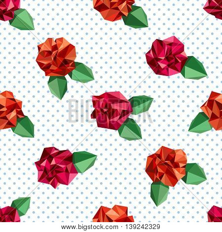 Seamless pattern with flowers, imitating crumpled paper. Polygon style