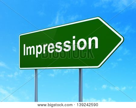 Advertising concept: Impression on green road highway sign, clear blue sky background, 3D rendering