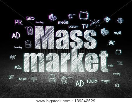 Marketing concept: Glowing text Mass Market,  Hand Drawn Marketing Icons in grunge dark room with Dirty Floor, black background
