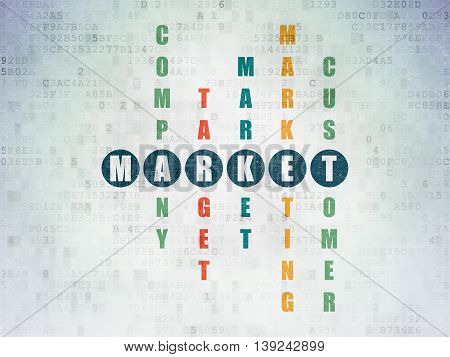 Marketing concept: Painted blue word Market in solving Crossword Puzzle on Digital Data Paper background