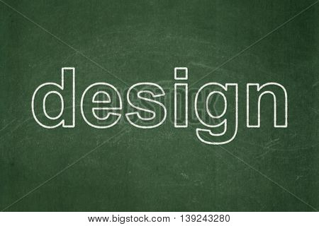 Advertising concept: text Design on Green chalkboard background