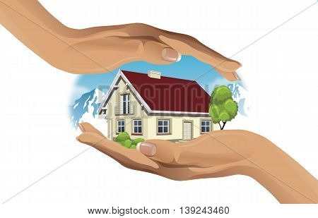Two hands protect the house in mountain - vector illustration