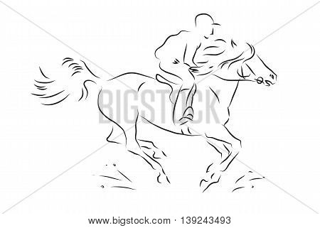 sketch horseman galloping on horse - vector illustration