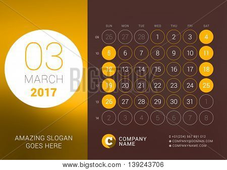 March 2017. Desk Calendar For 2017 Year. Vector Design Print Template With Place For Photo. Week Sta