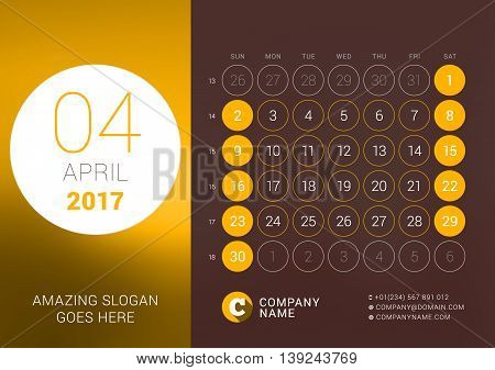 April 2017. Desk Calendar For 2017 Year. Vector Design Print Template With Place For Photo. Week Sta
