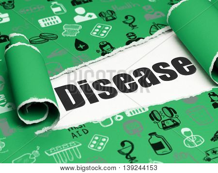 Health concept: black text Disease under the curled piece of Green torn paper with  Hand Drawn Medicine Icons, 3D rendering