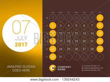 July 2017. Desk Calendar For 2017 Year. Vector Design Print Template With Place For Photo. Week Star