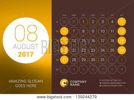 August 2017. Desk Calendar For 2017 Year. Vector Design Print Template With Place For Photo. Week St