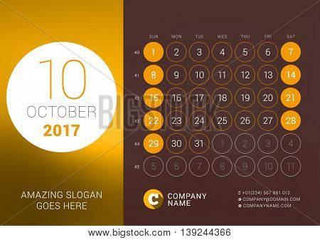 October 2017. Desk Calendar For 2017 Year. Vector Design Print Template With Place For Photo. Week S