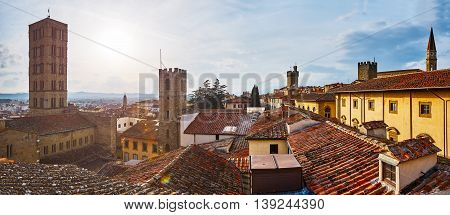 The panoramic view roofs and tower of Arezzo,Toscana,Italy.