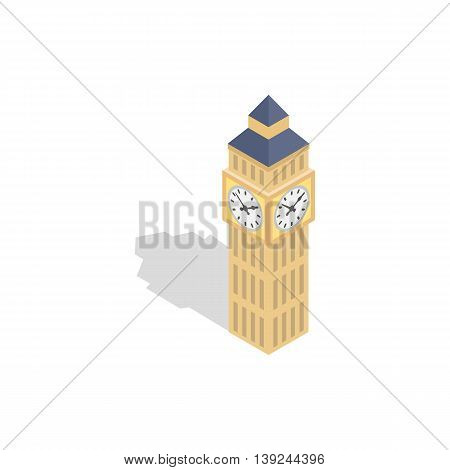Big Ben icon in isometric 3d style isolated on white background. Time symbol