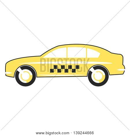 Cipart icon yellow taxi car flat design.
