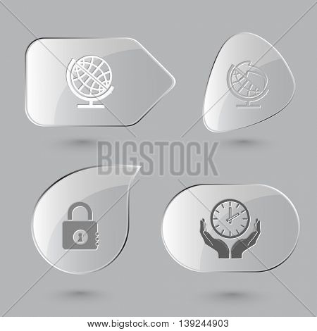 4 images: globe and arrow, closed lock, clock in hands. Business set. Glass buttons on gray background. Vector icons.