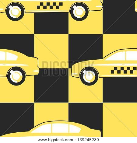 Pattern Taxi Cab on Yellow - Black background