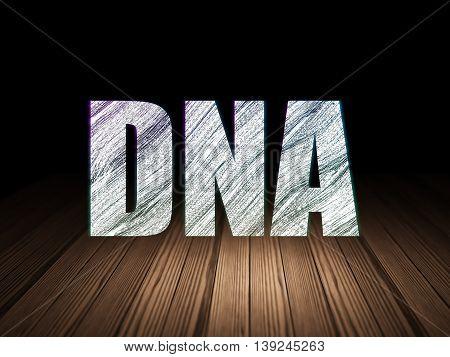 Healthcare concept: Glowing text DNA in grunge dark room with Wooden Floor, black background