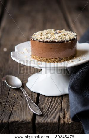 Chestnut and chocolate mini cake with chocolate ganache