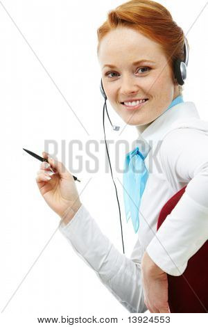 Image of an attractive young telesales assistant