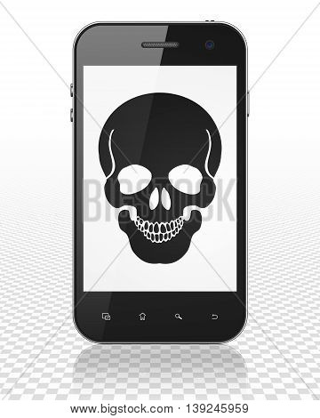 Health concept: Smartphone with black Scull icon on display, 3D rendering