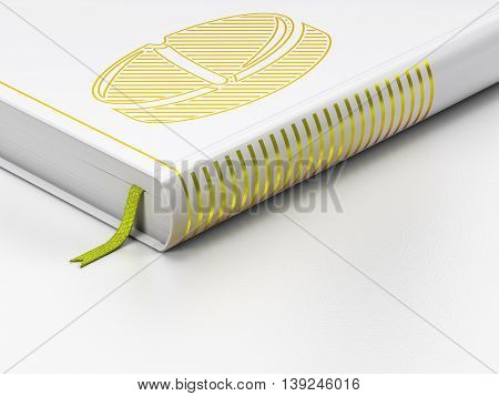 Medicine concept: closed book with Gold Pill icon on floor, white background, 3D rendering