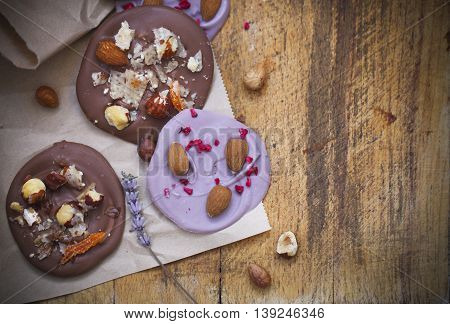 Chocolate cookies with pistachios hazelnut almonds and lavender