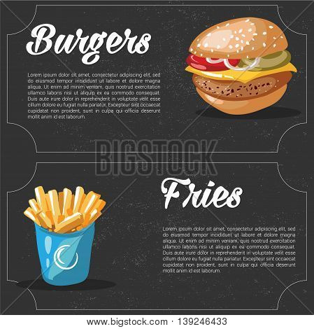 vector cartoon fast food combo - hamburger and french fries. food elements for menu