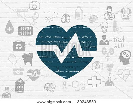 Medicine concept: Painted blue Heart icon on White Brick wall background with Scheme Of Hand Drawn Medicine Icons