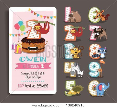 Birthday Party Invitation Template with Numbers and Funny Animal Characters.