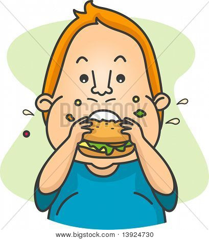 Illustration of a Man Eating a Burger