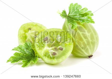 gooseberries with leaf and half isolated on white background.