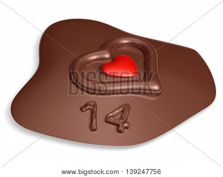 14 Typography And Heart On Meltting Dark Chocolate