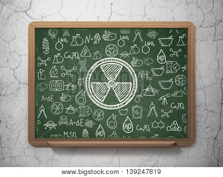 Science concept: Chalk White Radiation icon on School board background with  Hand Drawn Science Icons, 3D Rendering