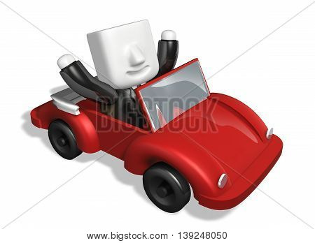 3D Business Man Driving In The Red Convertible