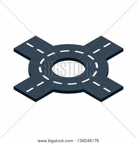 Circular transport interchange icon in isometric 3d style isolated on white background