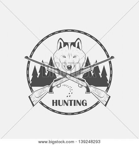 hunting with a picture of a wolf icon - vector illustration