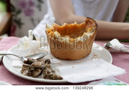 Leftovers Of Soup In Bread